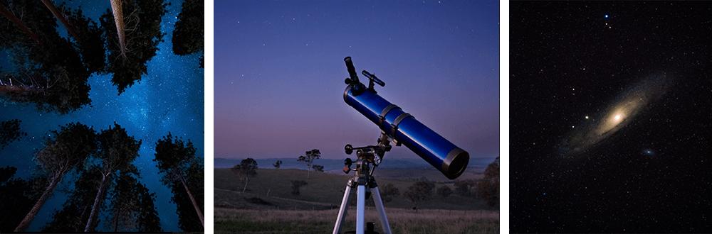 telescopio reflector y galaxia