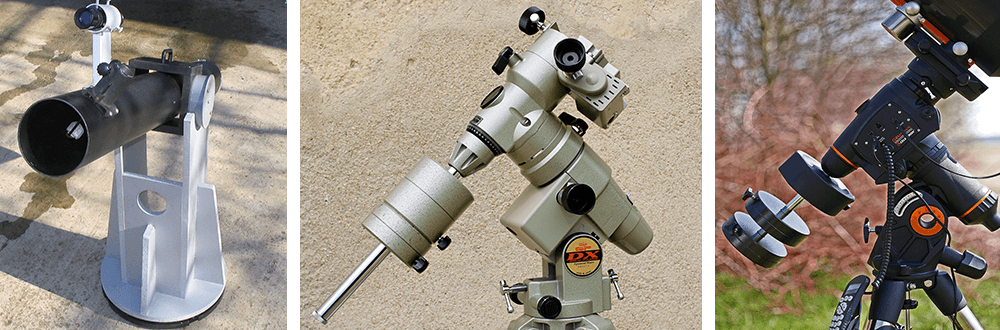 tipos de monturas de un telescopio